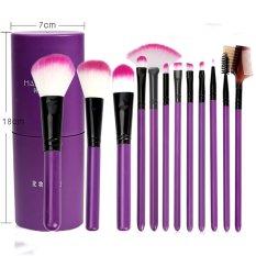 12 Pcs/set Makeup Brush Set. Alat Makeup untuk Pemula. Penuh Setof Kombinasi Eye Shadow Foundation Blush Bedak Paint (Ungu)-Intl