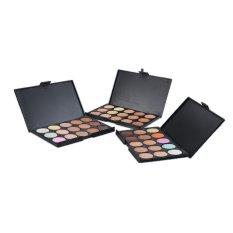 15 Warna Kontur Krim Wajah Makeup Concealer Palet + Kuas Bedak Spons Make-up-Intl