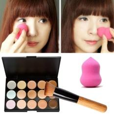 15 Warna Cream Makeup Concealer Palet + Sponge Gourd Puff Kuas Bedak-Intl
