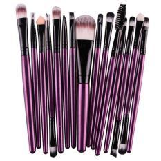 15 Pcs/sets Eye Shadow Foundation Alis Kuas Bibir Makeup Alat Sikat Ungu-Intl