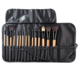 Kualitas 15 Pcs Soft Synthetic Hair Make Up Tools Kit Kosmetik Beauty Makeup Brush Black Set Dengan Leather Case Intl Oem