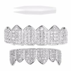 Beli 18 K Berlapis Emas Atas Bawah Grillz Mulut Gigi Grills Set Bling Diamond Intl Pakai Kartu Kredit