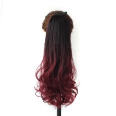 Harga 2016 Fahion Drawstring Ponytail Ekstensi Rambut Sintetis Rambut Gradien Warna Invisible Ponytail Curly Intl Not Specified Baru