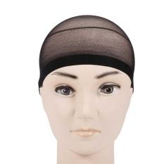 2 Pcs Wanita Pria Elastis Stocking Wig Liner Cap Snood Nylon Stretch Mesh Hitam-Intl