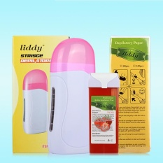 3 In 1 Portable Electric Wax Heater Thermostatic Depilatory Warmer Hot Waxing, Water Soluble Honey Wax Cartridge with Strip Hair Removal Set NET WT:Pink 110V beauty rule - intl