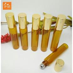 4 pcs Botol Roll On Amber Kaca 10ml - Gold Cap - Metal Roller Ball