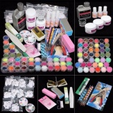 Promo 42 Acrylic Nail Art Tips Powder Liquid Brush Glitter Clipper Primer File Set Kit Intl Oem Terbaru