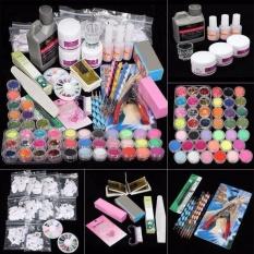 Toko 42 Acrylic Nail Art Tips Powder Liquid Brush Glitter Clipper Primer File Set Kit Intl Oem Di Tiongkok