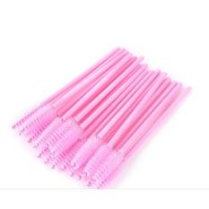 50 Pcs Sikat Bulu Mata Sekali Pakai Maskara Spoolers Tongkat Kuas Makeup Alat Pink-Intl