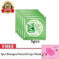 5pcs Bioaqua Aloe Vera Mask [Masker Wajah] + Free 1pcs Bioaqua Nourish Lips Mask