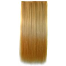 60 cm lurus sintetis dua nada Ombre sopak klip-pada ekstensi rambut Wig pirang untuk Gold - Internasional