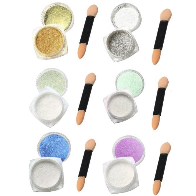 6Pcs 1g Nail Glitter Powder Shinning Nail Mirror Powder Makeup Art DIY - intl