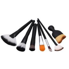 7 Makeup Brushes, Alat Make Up, foundation Brush, Kombinasi Fan Brush, Sikat Bedak Longgar, Kepala Miring Sikat-Intl
