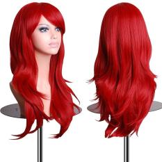 Harga 70 Cm Cosplay Ekstensi Rambut Panjang Keriting Warna Rambut Palsu Untuk Pesta Natal Kekuatan Tinggi Hot Dip Atau Halloween Topeng Merah Satu Set