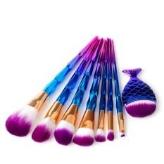 8 Pcs PRO MAKEUP Brushes Set Eyeshadow Alis Foundation Kuas Kosmetik dengan Diamond Cembung Cekung Pegangan-Internasional