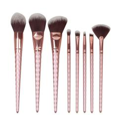 8 Pcs Rose Gold Makeup Brushes Threaded Rod Handle Alat Kuas Kosmetik #2403-Intl