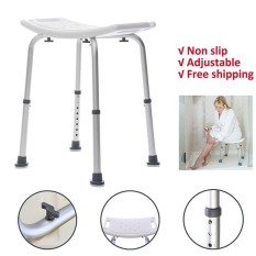 Adjustable Medical Bath Tub Shower Chair 8 Height Bench Bathtub Stool Seat White - intl