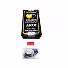 Akui Sabun Belerang Asli Obat Penyakit Kulit Obat Gatal Original BPOM - 1 Pcs + Free Polkadope Ikat Rambut - 1 Pcs