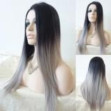 Harga Amart Wanita Lurus Sintetis Wig Glueless Dua Tone Natural Black Grey Gradient Wig Rambut Tahan Panas Intl Yang Bagus