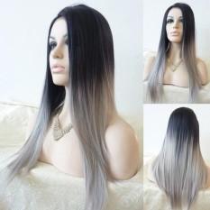 Spesifikasi Amart Wanita Lurus Sintetis Wig Glueless Dua Tone Natural Black Grey Gradient Wig Rambut Tahan Panas Intl Dan Harga