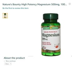 Amazon Nature's Bounty High Potency Magnesium 500Mg In USA Import