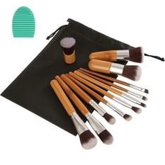 Angeltyr Makeup Brushes Set-Sintetis Premium Kabuki Kosmetik Foundation Blending Blush Eye Shadow Powder Brush Makeup Brush Kit dan Brush Egg (11 + 1 Pcs, Brown & Silver)-Intl