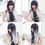 Beli Anime Wanita L*l*t* Hitam Putih Panjang Lurus Wig Cosplay Pesta Penuh Wig Gratis Cap Intl Oem Online