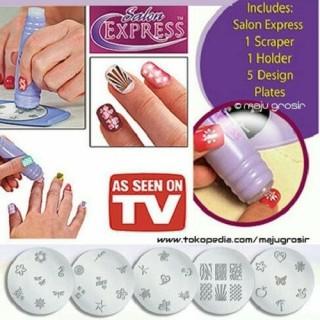 As Seen On Tv Salon Express Nail Art Stamping Kit Stamp Penghias Kuku Praktis thumbnail