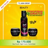Spesifikasi Aura Beauty Cream Pemutih Wajah Glowing Whitening F*c**l Wash Day And Night Cream 3 Pcs Terbaik
