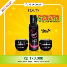 Beli Barang Aura Beauty Cream Pemutih Wajah Glowing Whitening F*c**l Wash Day And Night Cream 3 Pcs Online