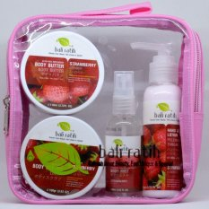 Harga Bali Ratih Paket Body Scrub Body Butter Body Lotion Body Mist Free Plastic Pouch Strawberry Original