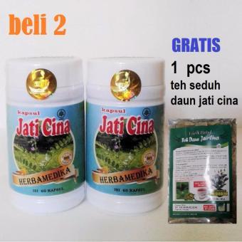 Beli 2 - Kapsul Jati Cina Herbamedika - Herbal Pelangsing Alami - Gratis 1 pcs Teh Seduh Daun Jati Cina