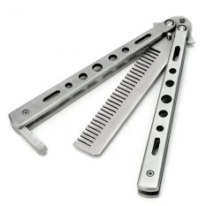 Promo Benchmade Balisong Butterfly Comb Sisir Lipat Stainless Steel Silver Akhir Tahun