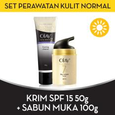 Harga Best Offer Olay Set Perawatan Kulit Normal Spf15 Free Foaming Cleanser Branded