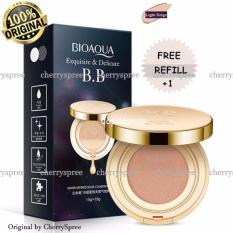 Bioaqua Exquisite and Delicate BB Cream Air Cushion Pack Gold Case SPF 50++  Foundation Make Up Wajah Bersih Free Refill - LIGHT BEIGE