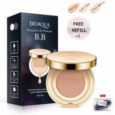 Bioaqua Exquisite and Delicate BB Cream Air Cushion Pack Gold Case SPF 50++ Foundation Make Up Wajah Bersih Free Refill -  Natural + Free Ikat Rambut Polkadope - 1 Pcs