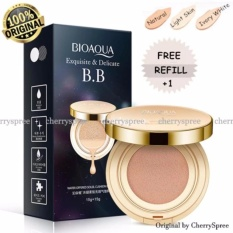 Bioaqua Exquisite and Delicate BB Cream Air Cushion Pack Gold Case SPF 50++  Foundation Make Up Wajah Bersih Free Refill - Natural