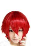 Toko Bluelans® Bang Pendek Pesta Cosplay Wig Yang Lurus Merah Blue Lans