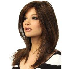 Bluelans® Perempuan Coklat Gelap Sebagian Poni Lurus Penuh Rambut Wig Yang Tahan Panas