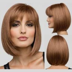 Bob Gaya Wig Pendek Wanita Lurus Penuh Hair Wig Cosplay Party Rapi Poni Hitam Blonde Brown-Blonde- INTL