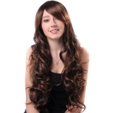 Bolehdeals 24 Inches Women Long Curly Natural Wavy Synthetic Hair Wigs With Cap Brown Intl Tiongkok