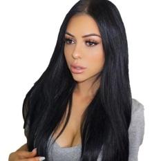BolehDeals Wanita Perpisahan Tengah Long Natural Lurus Rambut Sintetis Wig Lengkap Hitam-Intl