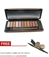 Bos Online - Eyeshadow N5 12Warna & Kuas 1 + Gratis Landbis Eyeliner 2in1 Brown No 3