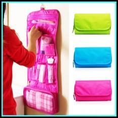 Bos Online Wash bag lipat panjang / tas perlengkapan mandi lipat Warna Random
