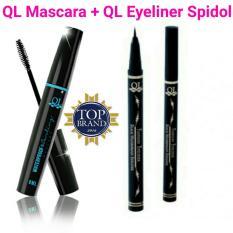 BPOM QL Mascara 1pc + QL Eyeliner Spidol 1pc - Waterproof Hitam