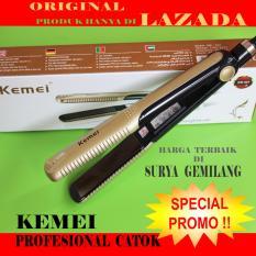 Catokan Rambut Profesional Salon /Kemei 327-Catok 2 in 1/Gold