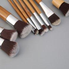 Jual Cheer 11 Pieces Makeup Brush Set Dengan Tas Kain Comestic Sikat Kayu Bambu Intl Original