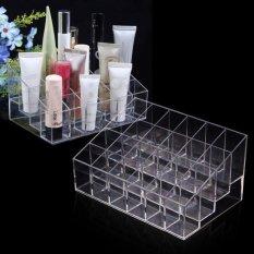 Clear Acrylic 24 Pemegang Lipstik Stan Pameran Kosmetik Riasmembentuk Penyelenggara Rak Penyimpanan Kotak Kasus Kontainer untuk Mac Diorloreal- INTL