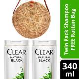 Jual Clear Shampo Anti Ketombe Natural Black 340Ml Twinpack Free Tas Rotan Branded Murah
