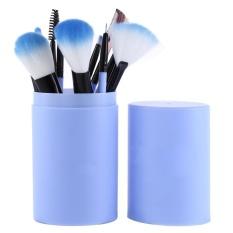 Harga Clearance ASTAR 12 Pcs Riasan Brushes Set Mata Bibir Wajah Hidung Kosmetik Bubuk Foundation Kuas (Biru) -Internasional